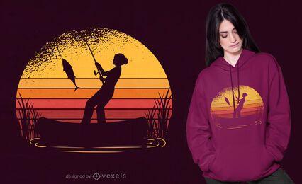 Diseño de camiseta de pesca al atardecer.