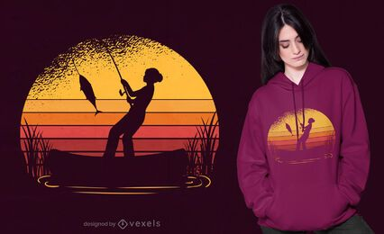 Fishing sunset t-shirt design