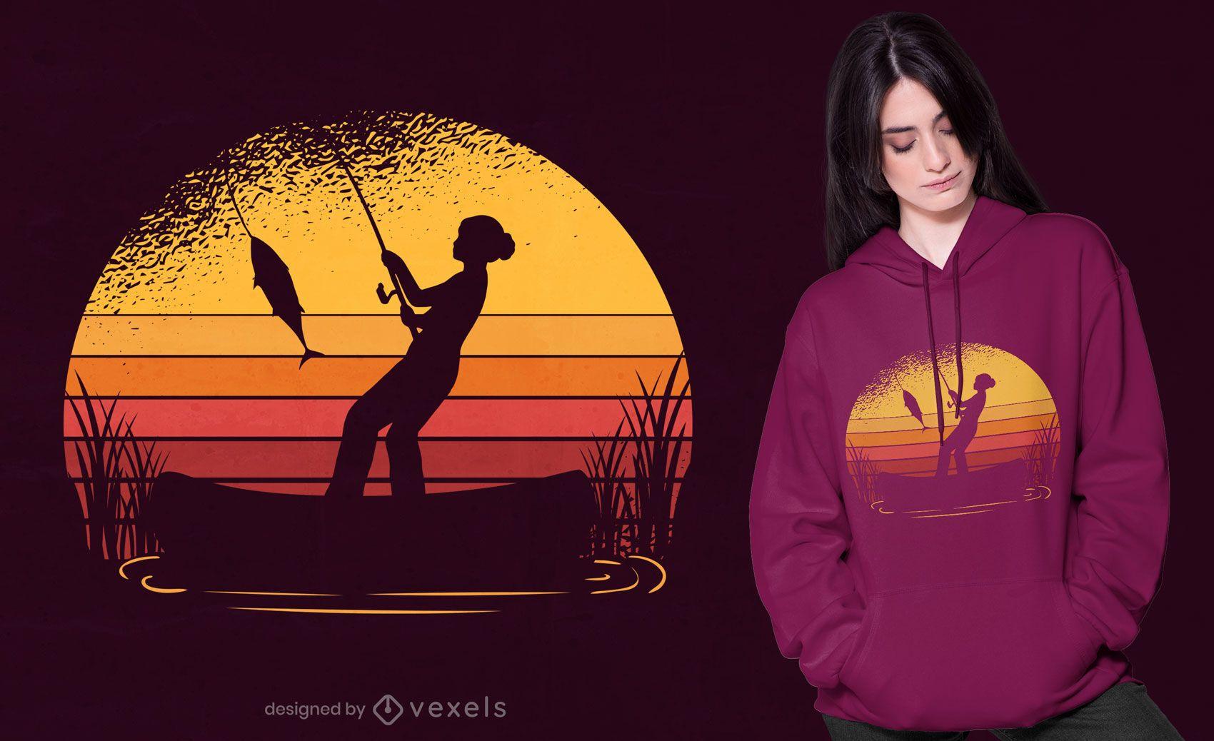 Design de camiseta de pesca do sol