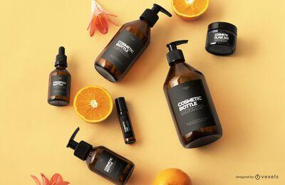 Composição de maquete de frascos de cosméticos