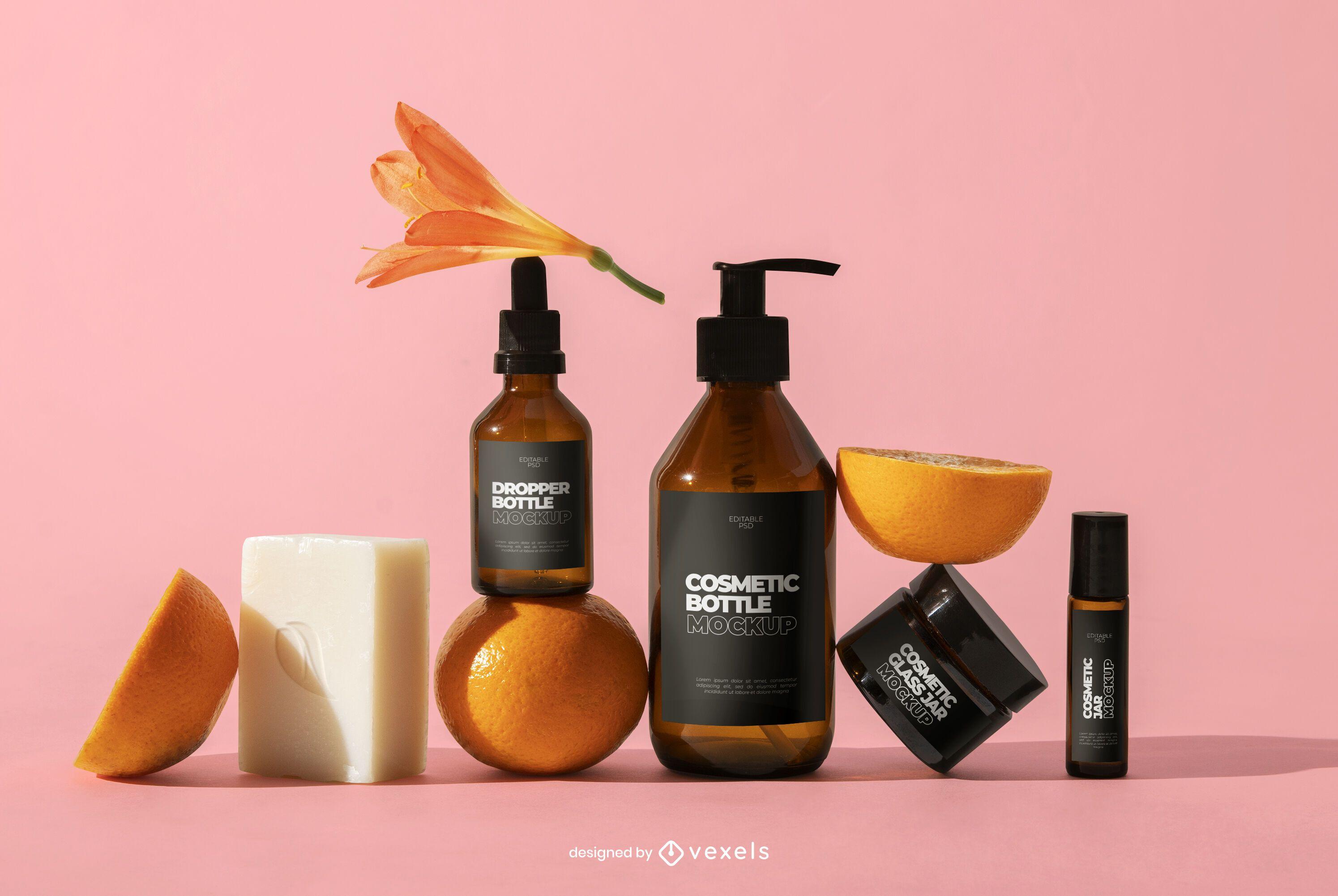 Composição de maquete psd de frascos de cosméticos