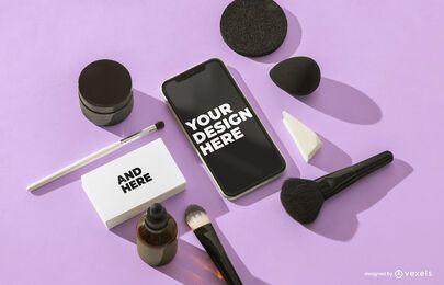 Composición de maqueta cosmética de iphone