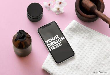 Composición de maqueta de belleza de iphone