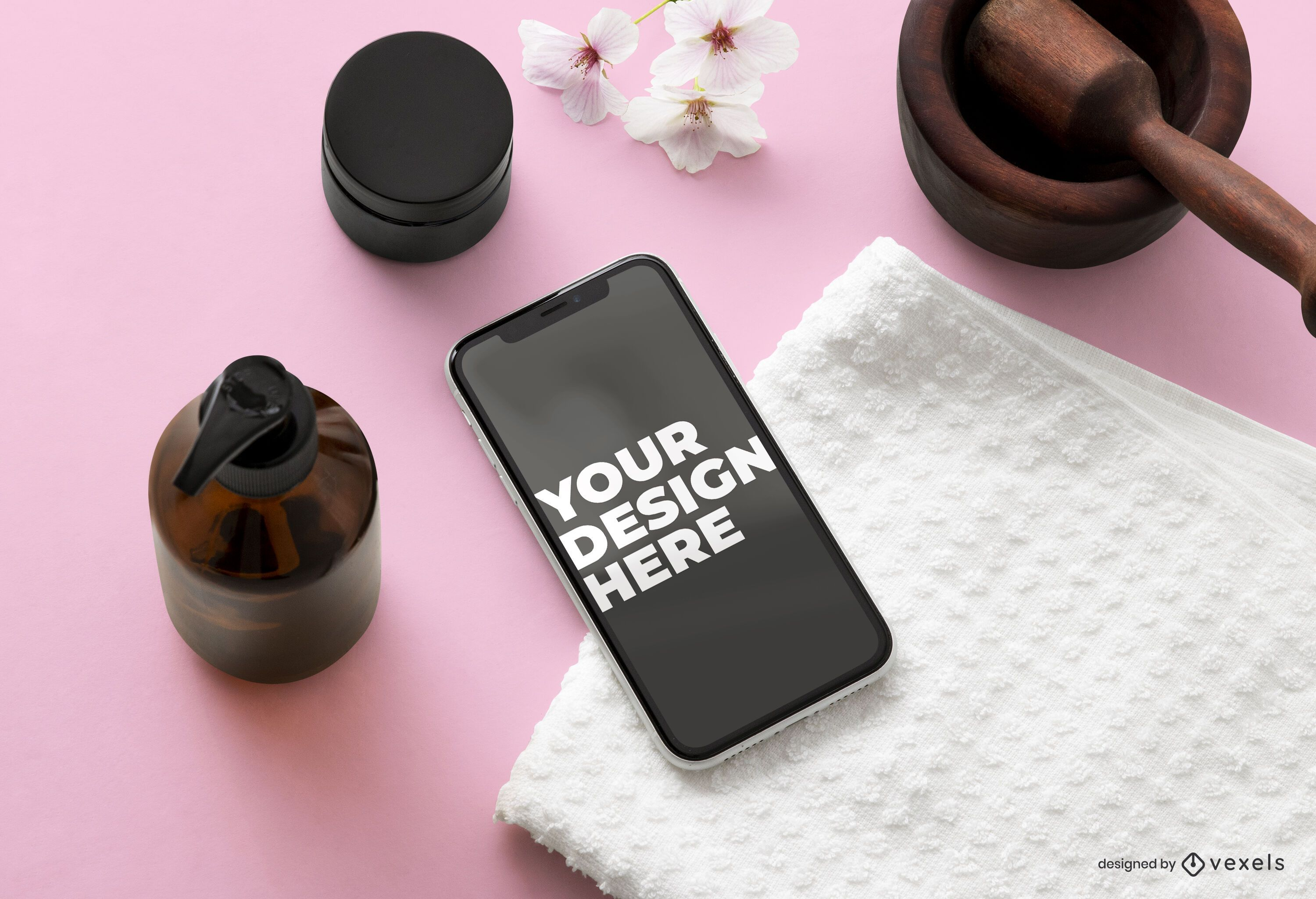 Iphone beauty mockup composition