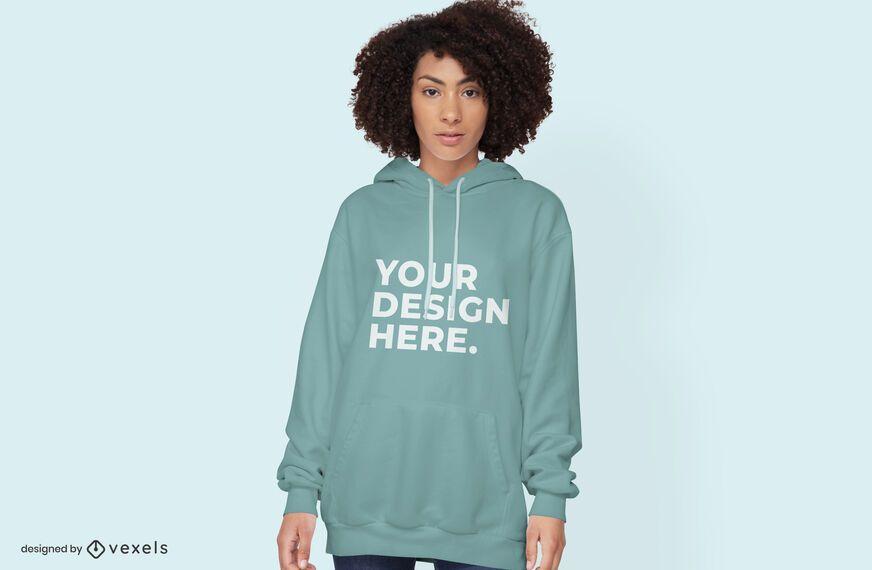 Female model hoodie mockup design psd