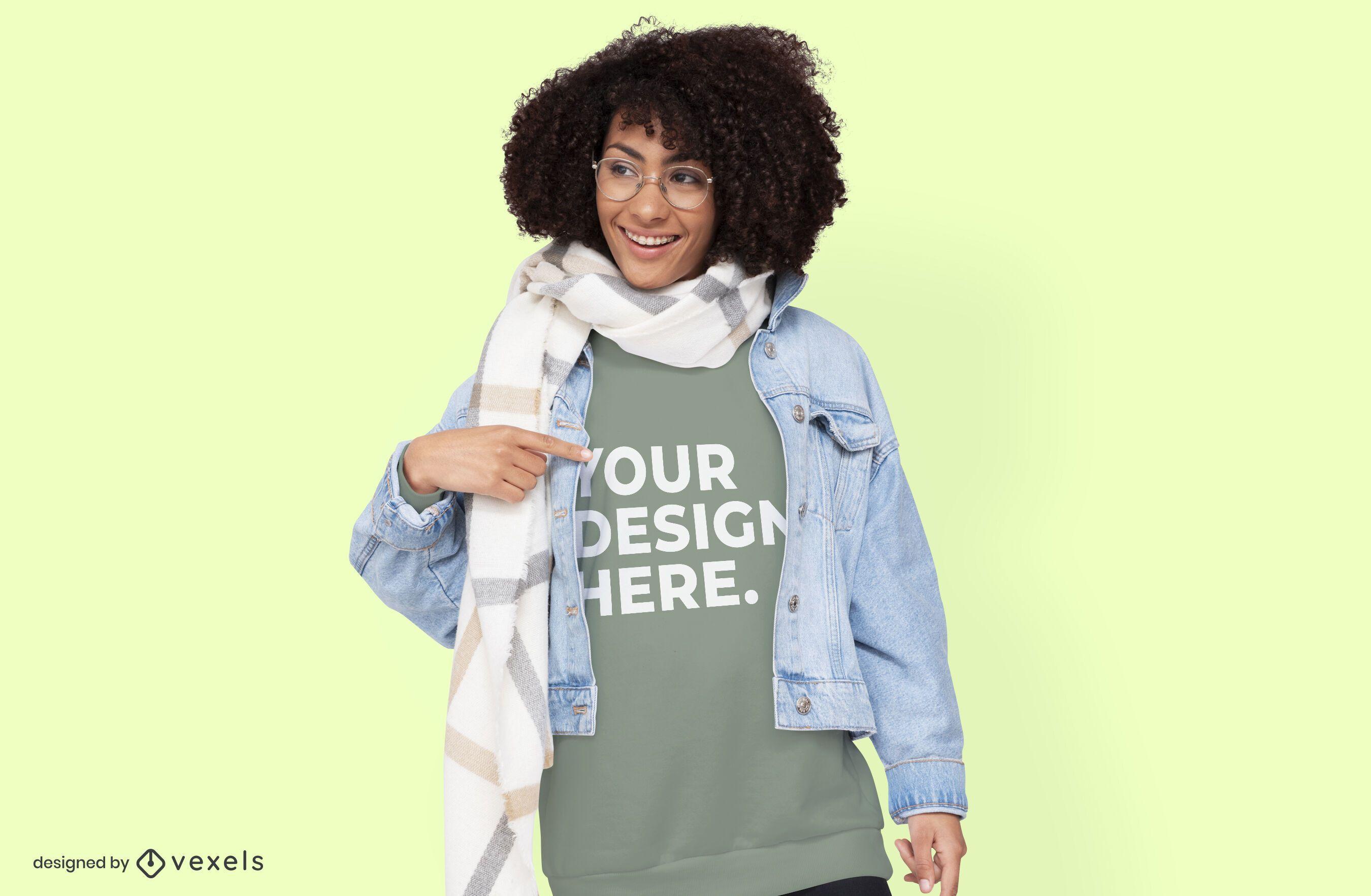 Model with jacket hoodie mockup design
