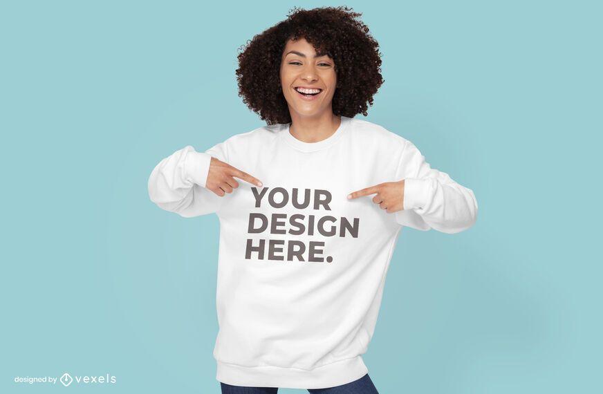 Female model hoodie psd mockup design