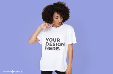 Woman wearing t-shirt mockup design