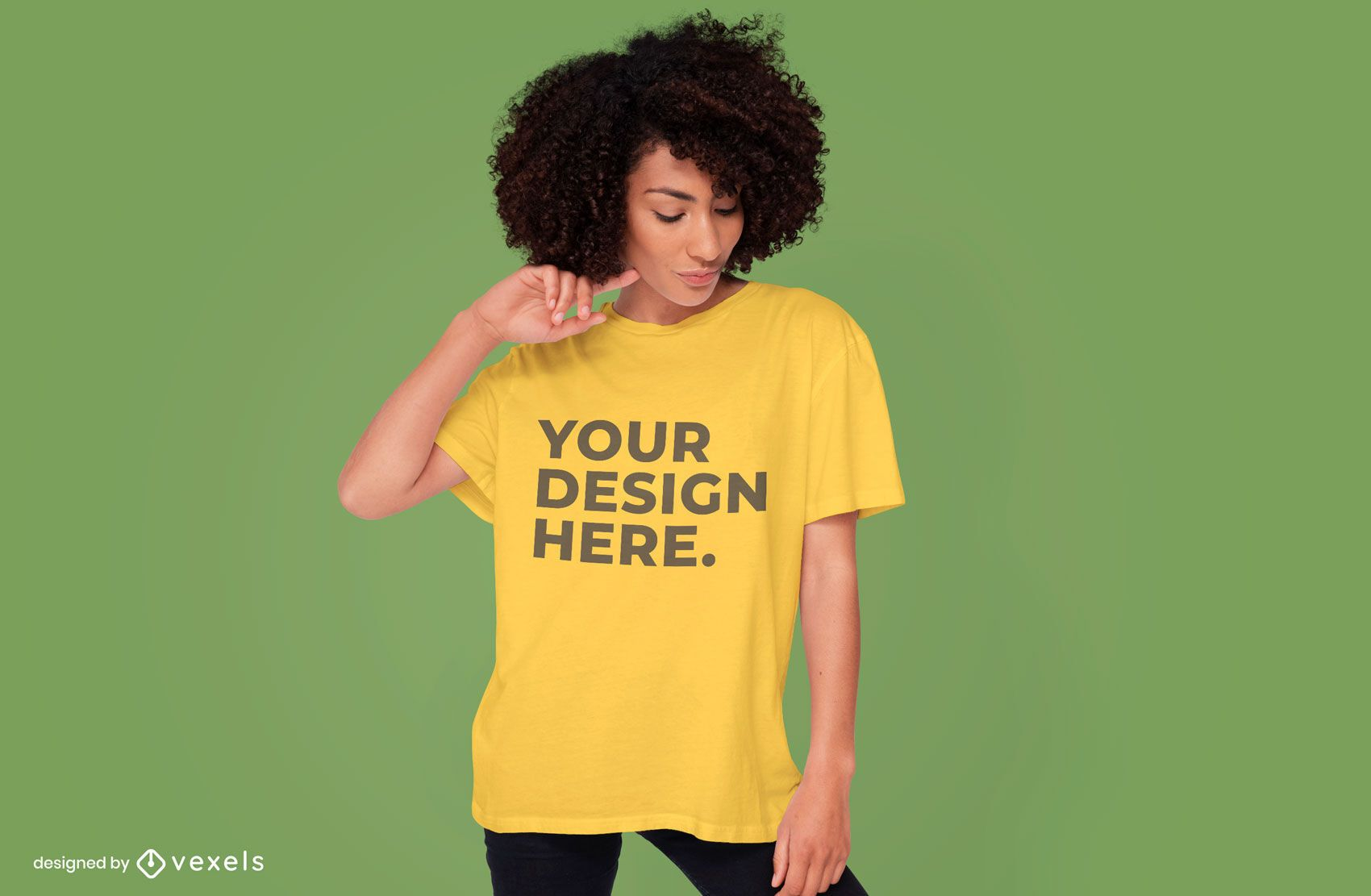 Woman wearing t-shirt mockup design