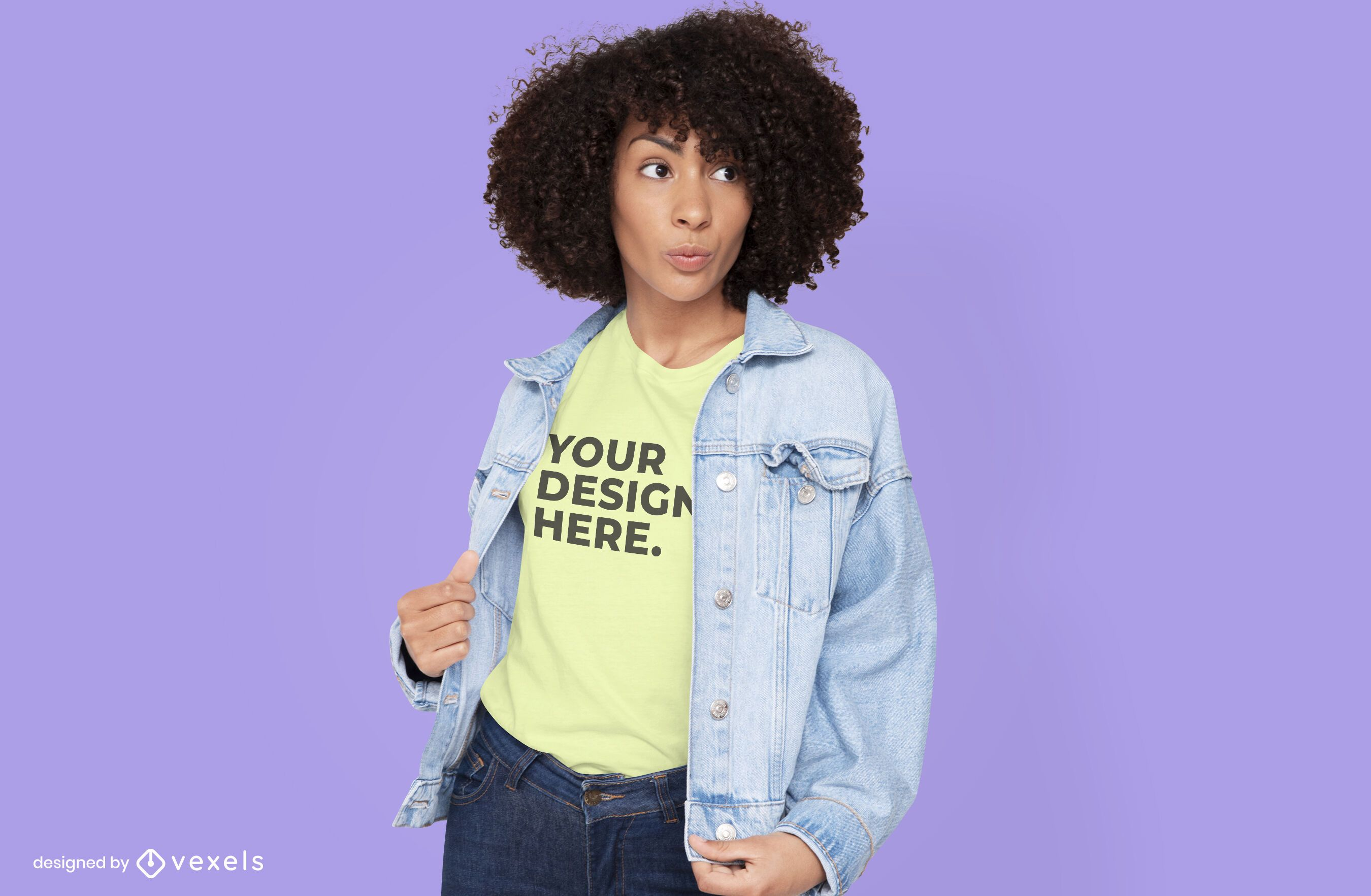 Woman with jean jacket t-shirt mockup design