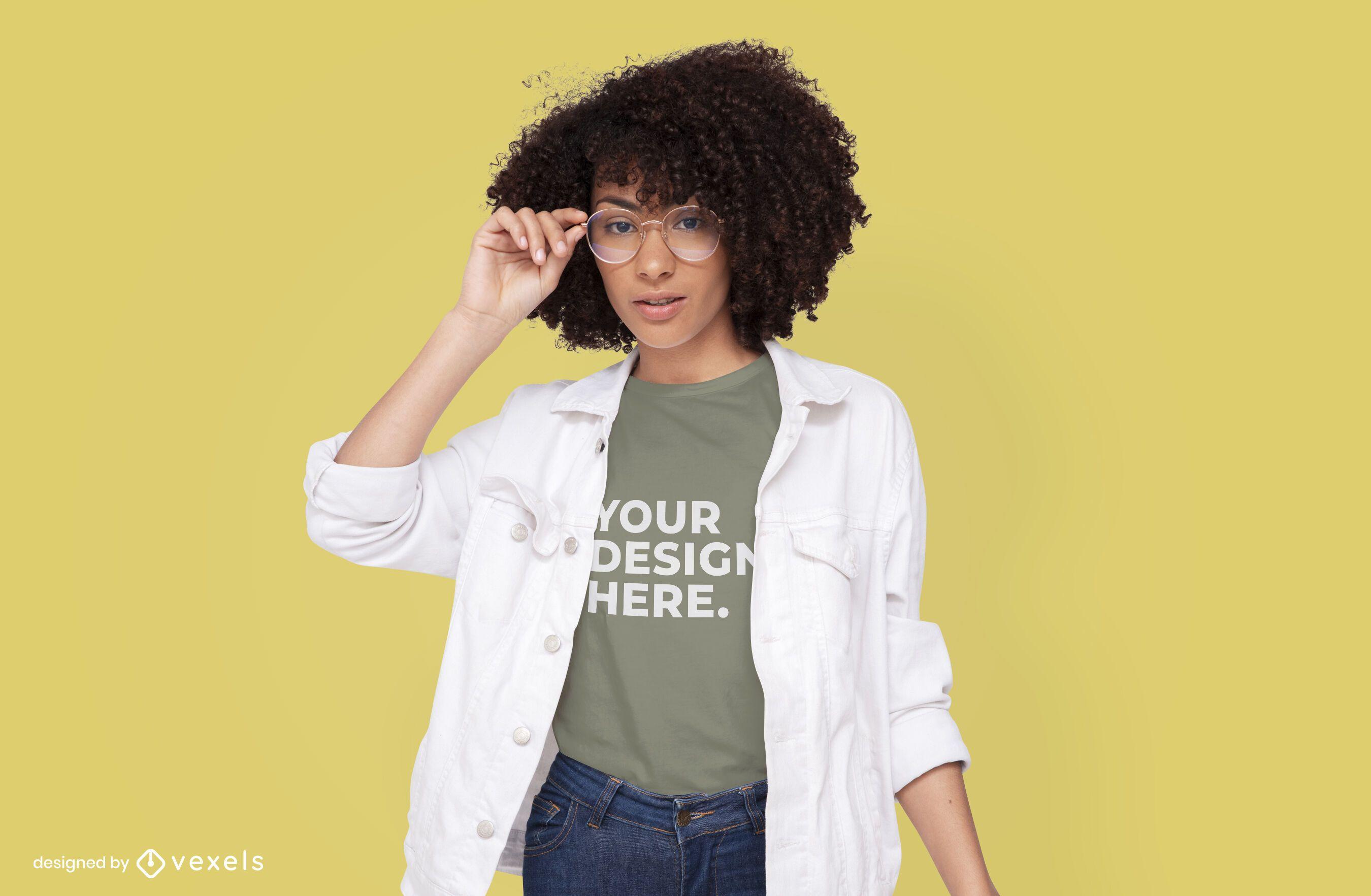 Model with white jacket t-shirt mockup design