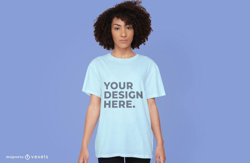 Desenho de maquete de t-shirt feminina psd