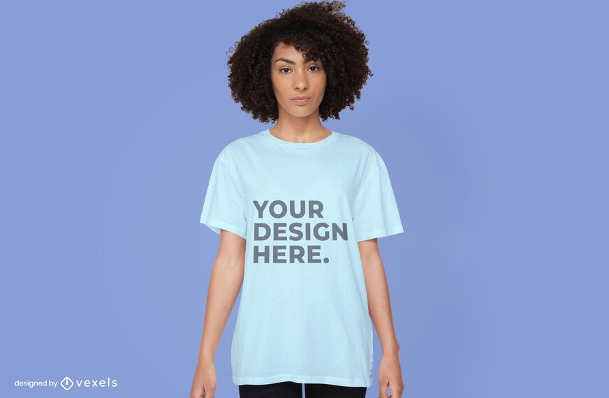 Woman t-shirt mockup design psd