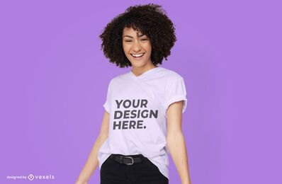 Female model t-shirt mockup design psd