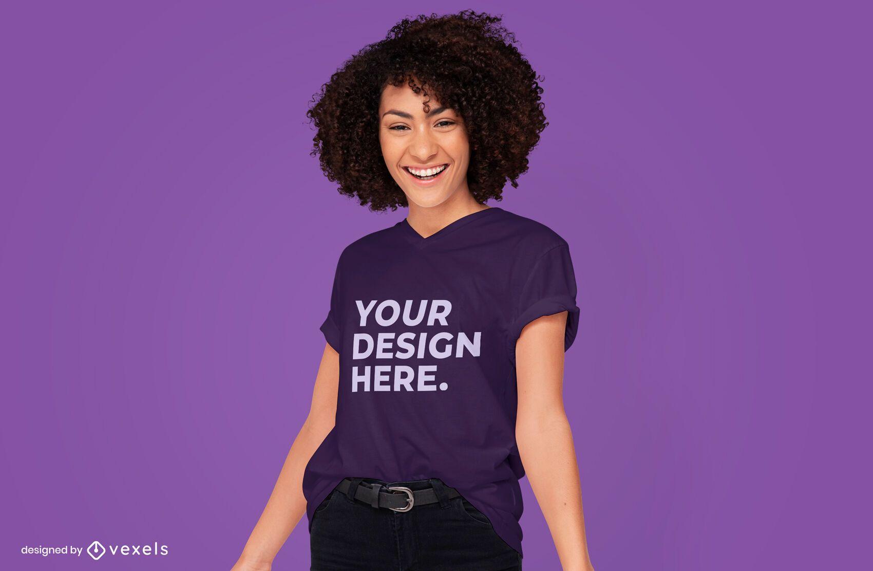 Female model t-shirt mockup design psd