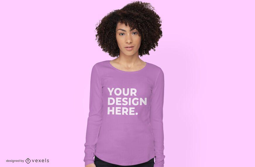 Diseño de maqueta de camiseta de manga larga
