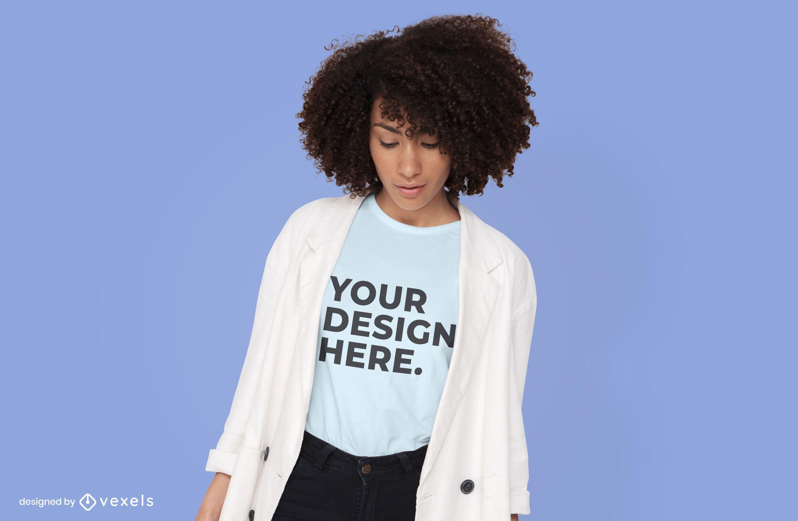 Model with cardigan t-shirt mockup design