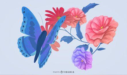 borboletas e flores ilustração design