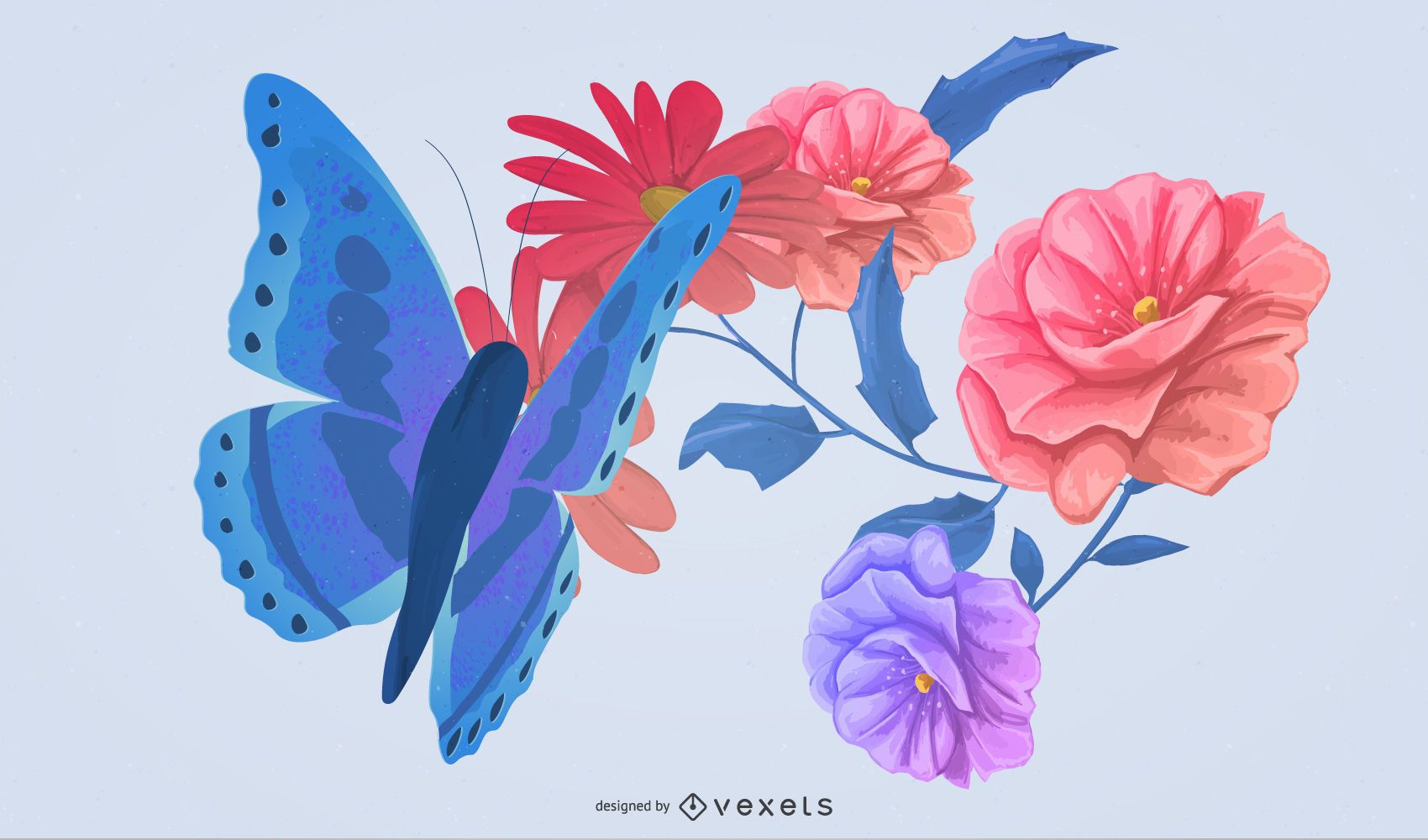 butterflies and flowers illustration design