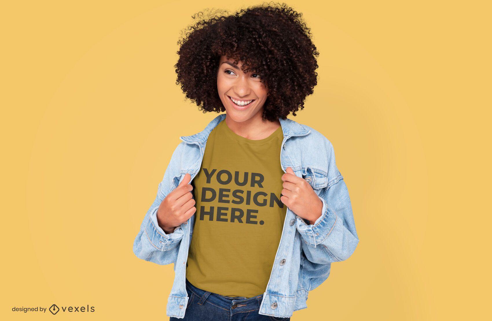 Model with jacket t-shirt mockup design
