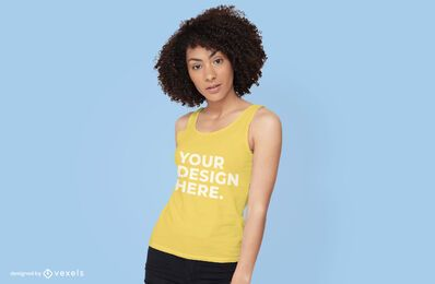 Model with tank top mockup design
