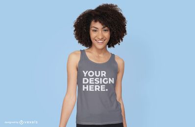 Woman with tank top mockup design