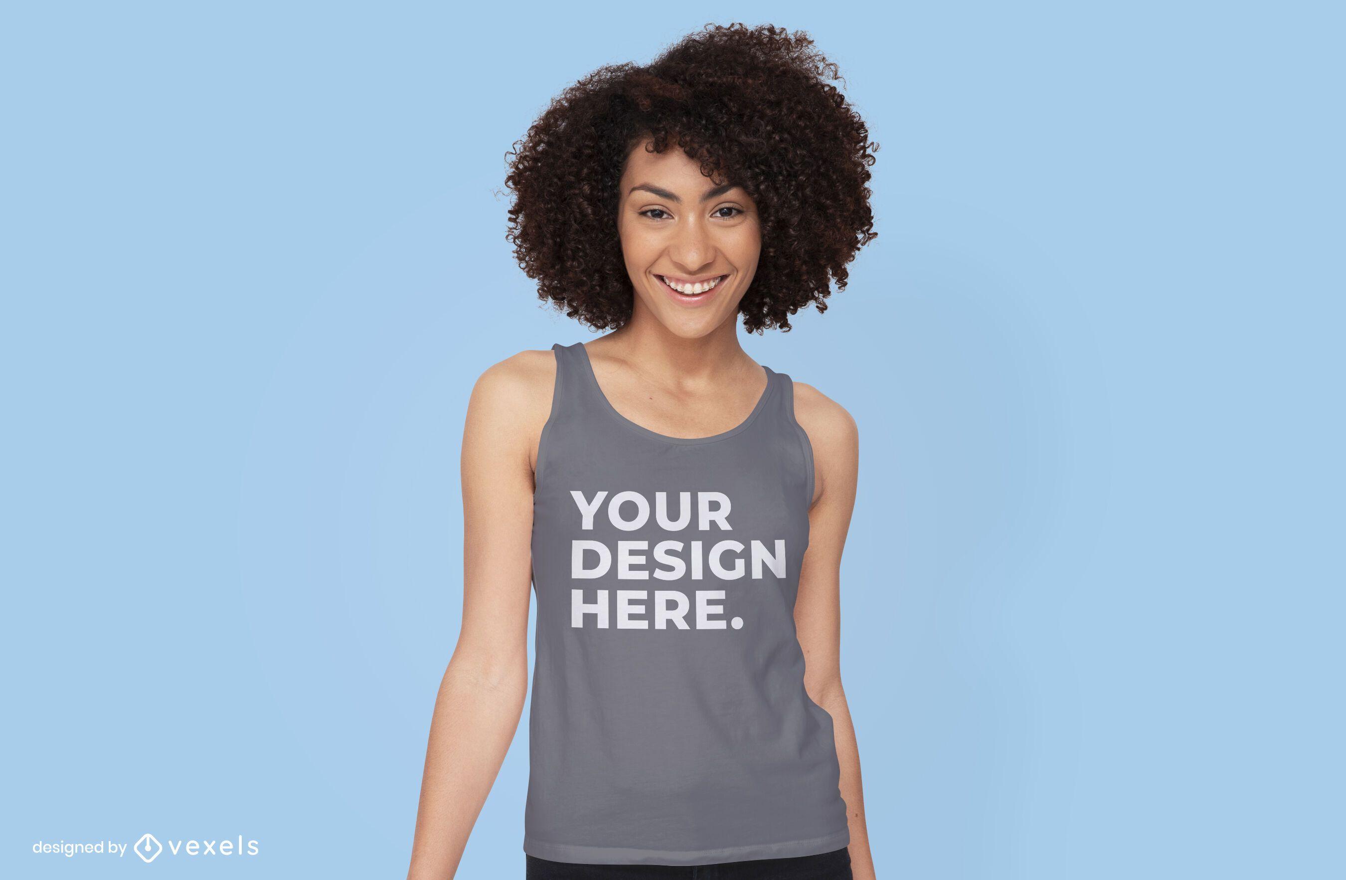 Mujer con dise?o de maqueta de camiseta sin mangas