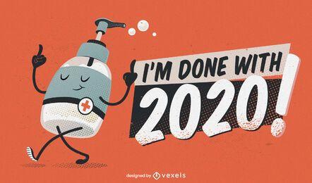Fertig mit 2020 lustigem Illustrationsdesign
