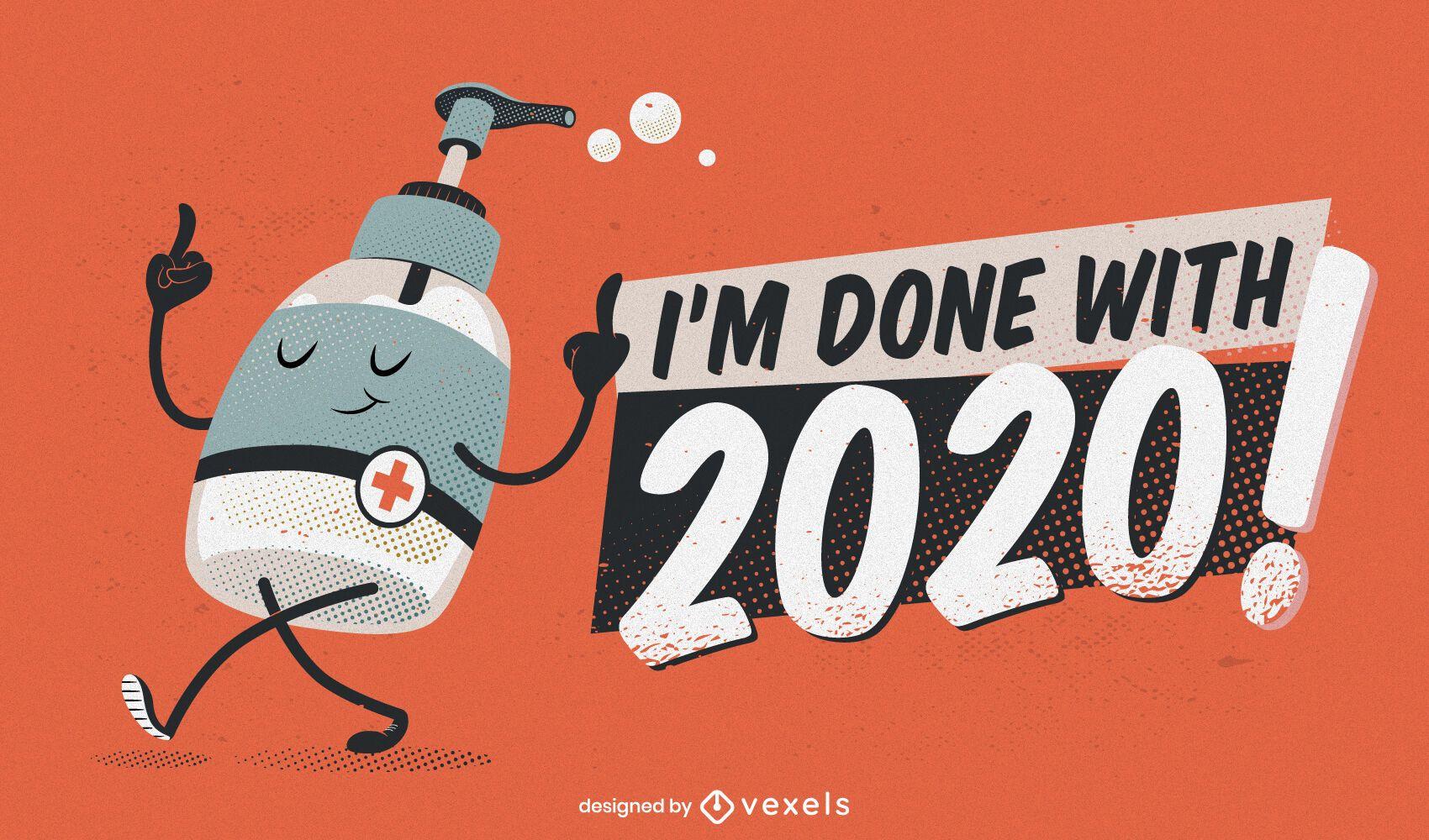 Feito com design de ilustração engraçada de 2020