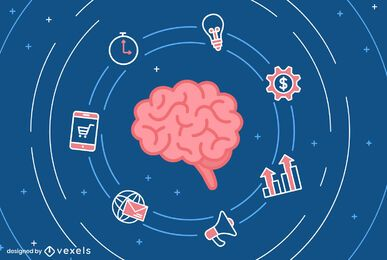 Brain business illustration design