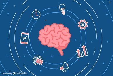 Diseño de ilustración de negocios de cerebro
