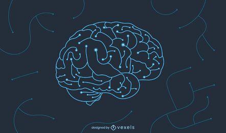Diseño de ilustración de circuito cerebral