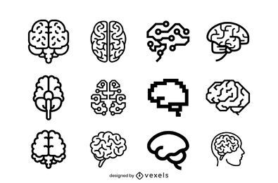 Brain icons stroke set