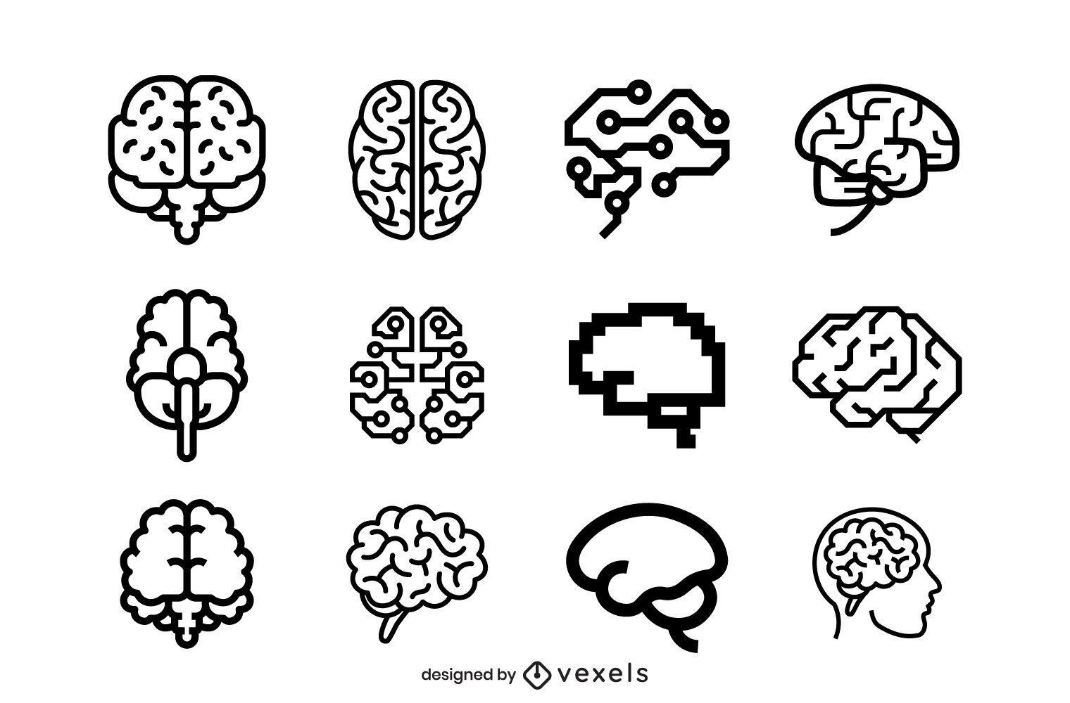 Conjunto de trazos de iconos de cerebro