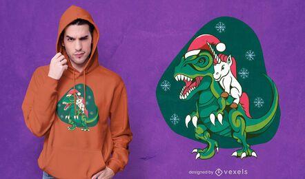 Diseño de camiseta de dinosaurio montando unicornio.