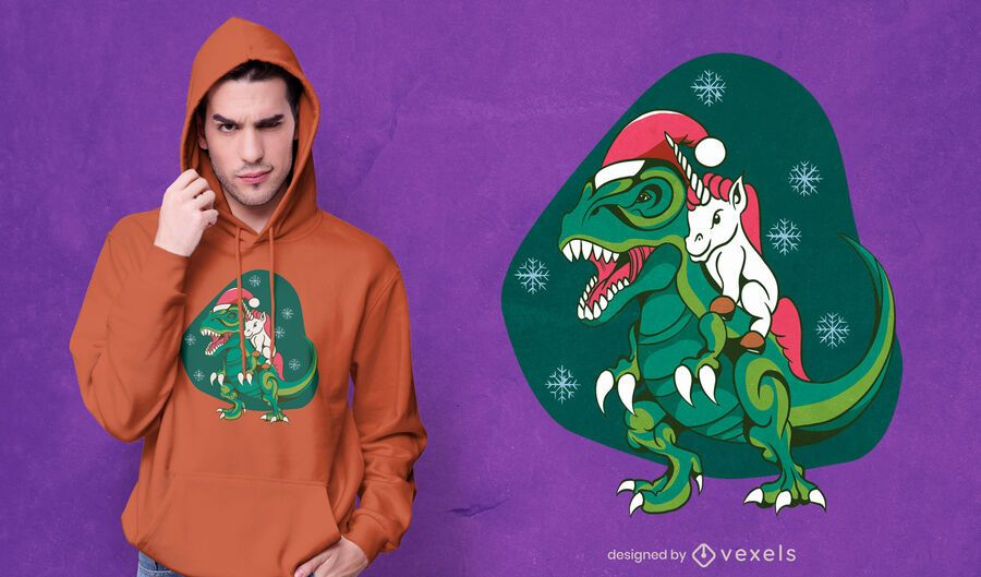 Unicorn riding dinosaur t-shirt design