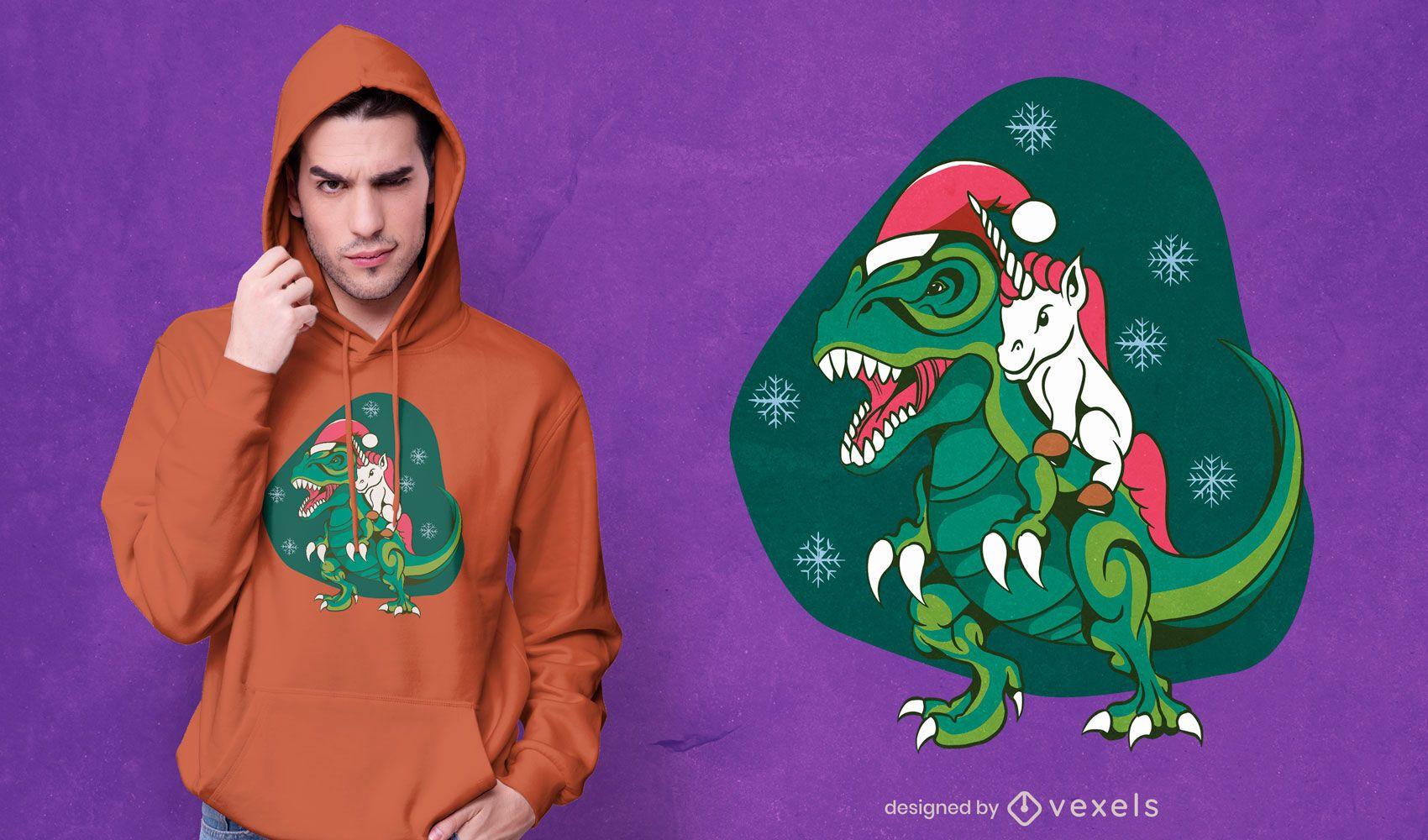 Unicorn riding dinosaur t-shirt design