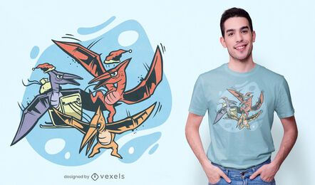 Design de t-shirt de trenó pterodáctilo