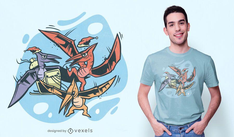 Diseño de camiseta de trineo de pterodáctilo.
