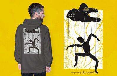 Diseño de camiseta de titiritero