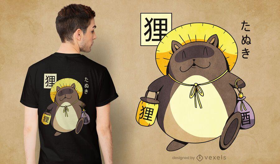 Diseño de camiseta Tanuki yokai