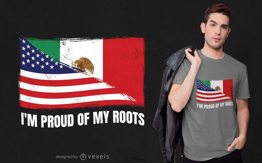 Orgulloso de mis raíces diseño de camiseta