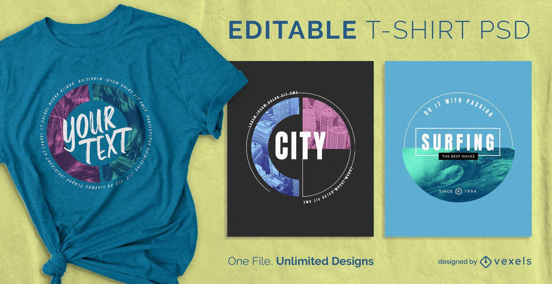 Circle scalable t-shirt psd