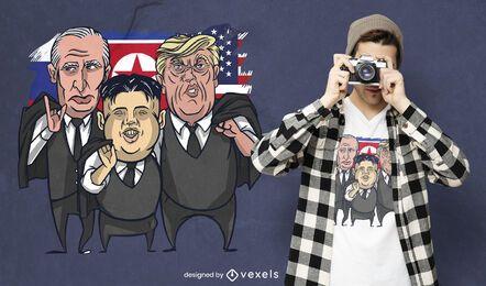 Design de camiseta Putin Kim Trump