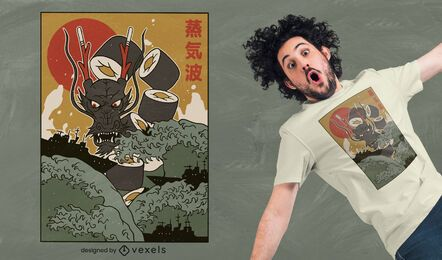 Diseño de camiseta Dragon sushi
