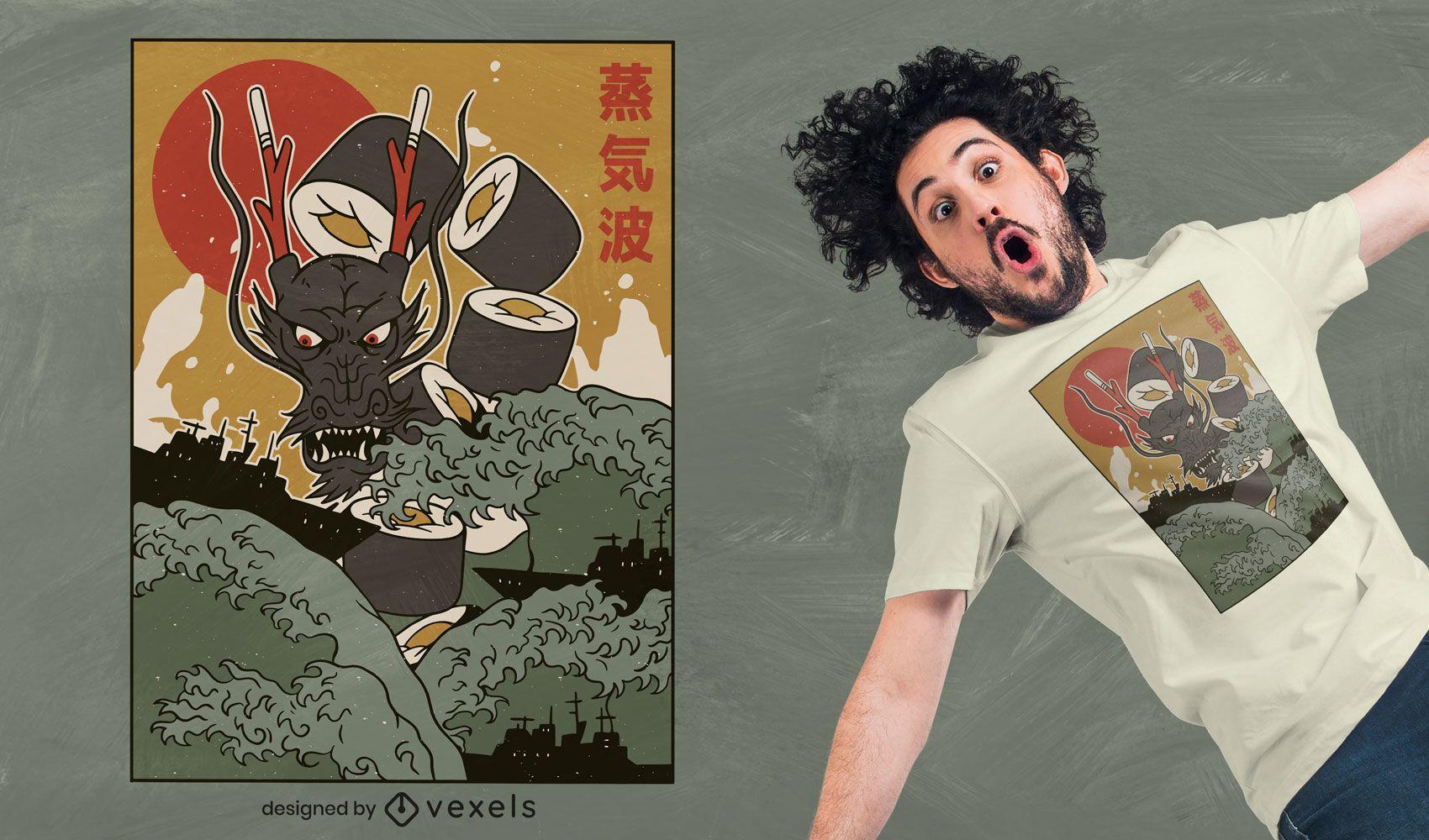 Design de camiseta Dragon Sushi
