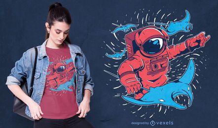 Diseño de camiseta astronauta diablo rayos