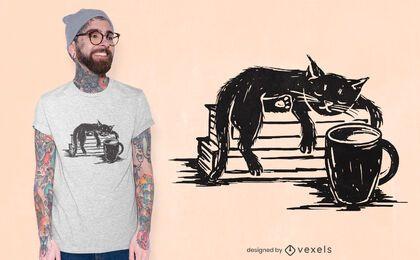 Diseño de camiseta de gato y café.