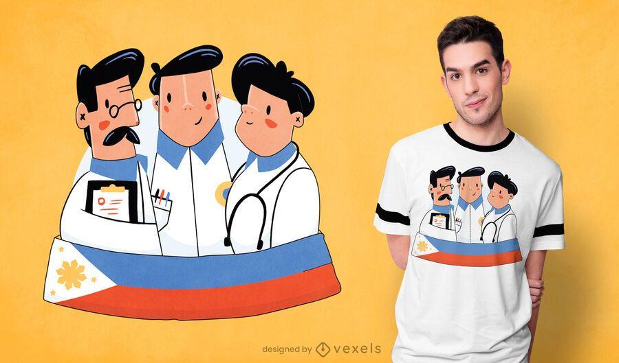 Diseño de camiseta de médicos filipinos.