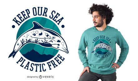 Diseño de camiseta de mar sin plástico.